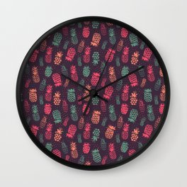 Tropical Pineapple Pattern Wall Clock