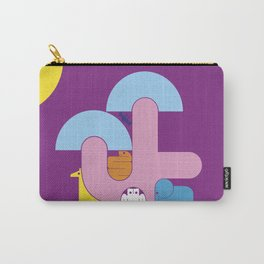 Abstract cartoon animal characters. Tree in the savannah with animals Carry-All Pouch