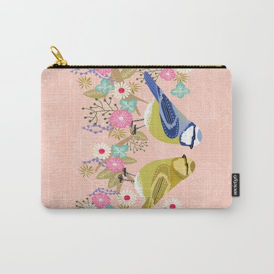 Love Birds valentines day birding illustration florals spring love by Andrea Lauren  Carry-All Pouch