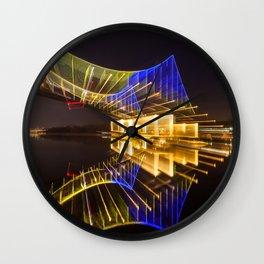 Footbridge in Kiev at night. abstract shot Wall Clock