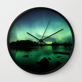 Northern lights lake landscape in Finland Wall Clock