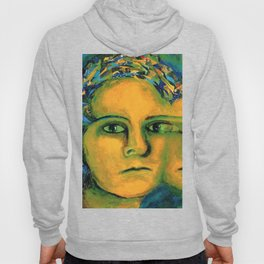 Anticipation - Abstract Gold and Emerald Goddess Hoody