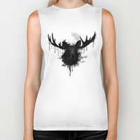 moose Biker Tanks featuring Moose by Nicklas Gustafsson