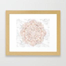 Rose Gold Mandala on Marble Framed Art Print