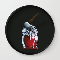 haunted mansion Wall Clocks featuring Disneyland Haunted Mansion inspired Haunted Bride Candied Apple  by ArtisticAtrocities
