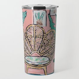 Wicker Shell Chair in Tropical Interior Travel Mug