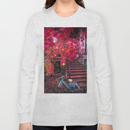 New York City Brooklyn Bicycle and Autumn Foliage Long Sleeve T-shirt