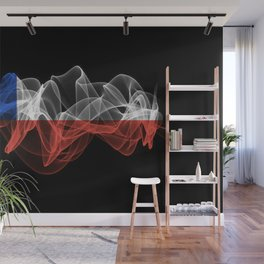 Chile Smoke Flag on Black Background, Chile flag Wall Mural