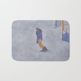 Sliding into Home - Winter Snowboarder Bath Mat