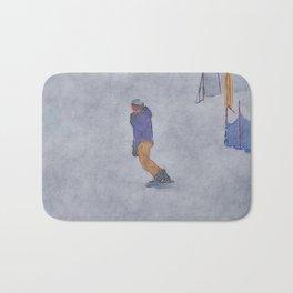 Sliding into Home - Winter Snowboarder Bath Mat