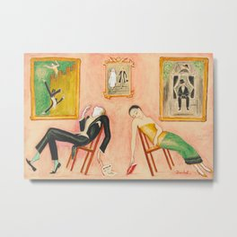 Family Idyll; Love and Marriage and Other Common Disasters portrait painting by Nils Dardel Metal Print