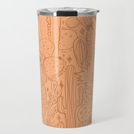 Cactus Scene in Orange Travel Mug