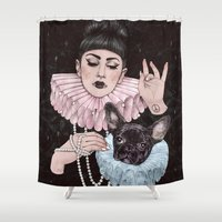 dress Shower Curtains featuring Dress Up by Helen Green