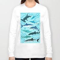 sharks Long Sleeve T-shirts featuring Sharks by Raffles Bizarre