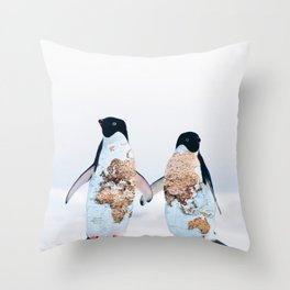Travel Penguins Throw Pillow