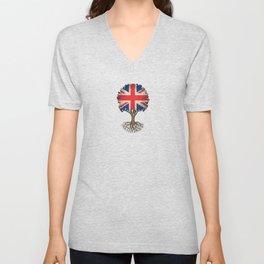 Vintage Tree of Life with Union Jack Flag of United Kingdom Unisex V-Neck