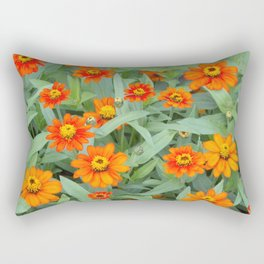 Fiery Flowerbed Rectangular Pillow