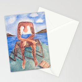 Fan art: melancholie sculpture with a dropped open book and sea view Stationery Cards