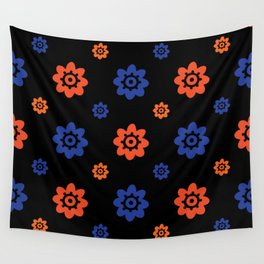 Florida Gator Colors Flower Print on Black Wall Tapestry