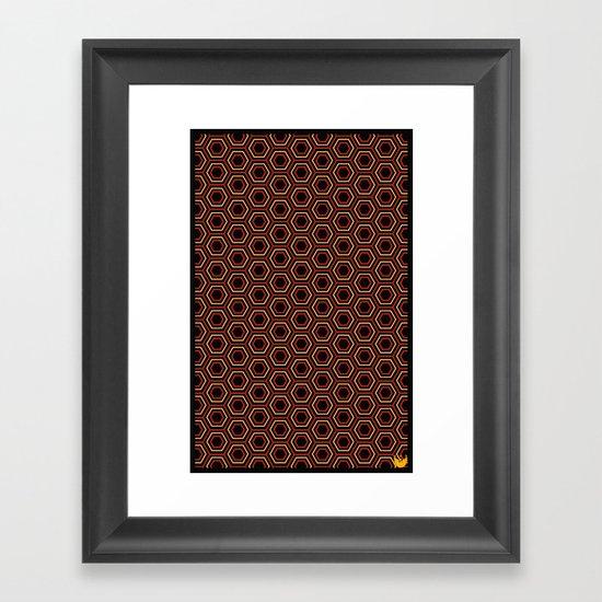 Hexagon Pattern in Red Framed Art Print