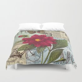 Ride with a Butterly and a Flower Duvet Cover