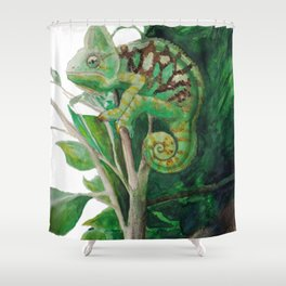 Chameleon in Watercolour Shower Curtain