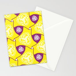 Yellow cabbage roses with plum lozenges Stationery Cards