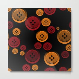 Colorful buttons on a black background. Metal Print