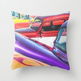 Candy Color Hot Rods, Tasty Automotive Art by Murray Bolesta Throw Pillow