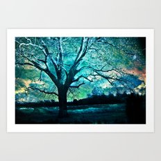 Surreal Fantasy Fairytale Aqua Blue Trees Gothic Landscape Art Print