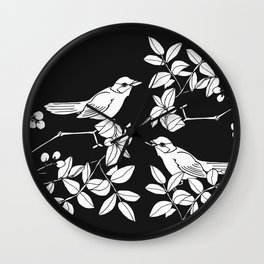 Birds on Branches, Drawing (White on Black) Wall Clock