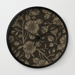 Midnight Blooms Wall Clock