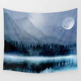Mountainscape Under The Moonlight Wall Tapestry