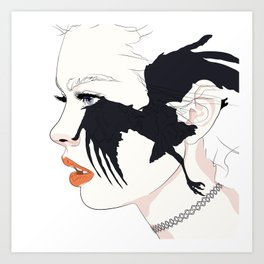 naked_black bird Art Print