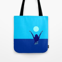 Blue sky and moon is calling me.. Tote Bag
