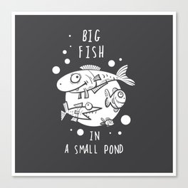 Vector card with cartoon  fishes. Big fish in a small pond. Doodle style. Canvas Print