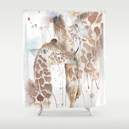 "Watercolor Painting of Picture ""Mother and Son"" Shower Curtain"