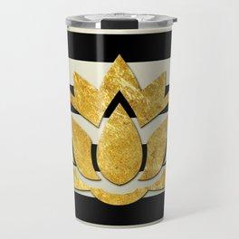 Horizontal Stripes & Gold Metallic Lotus Flower Travel Mug