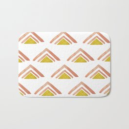 Pink and Yellow Boho Triangles Bath Mat