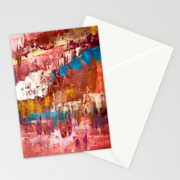 Desert Sun [5]: A bright, bold, colorful abstract piece in warm gold, red, yellow, purple and blue Stationery Cards