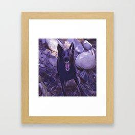 Angry Black Wolf Framed Art Print