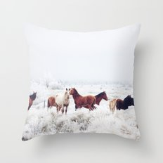 Winter Horseland Throw Pillow