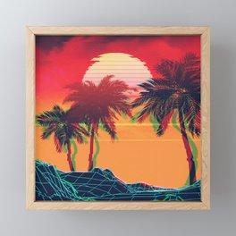 Vaporwave landscape with rocks and palms Framed Mini Art Print