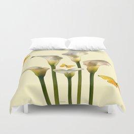 Ivory Calla Lilies Yellow Butterflies Duvet Cover