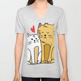Cartoon Cat Family Unisex V-Neck