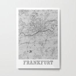 Frankfurt Pencil City Map Metal Print