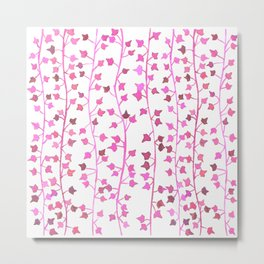 Watercolor Vines Pattern - Hot Pink Metal Print
