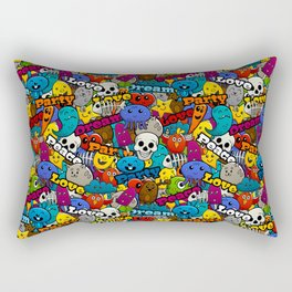 Colorful Graffiti Characters Pattern Rectangular Pillow