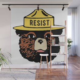 SMOKEY THE BEAR SAYS RESIST Wall Mural