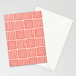 Retro Mid Century Modern Check Pattern 757 Coral and Beige Stationery Cards